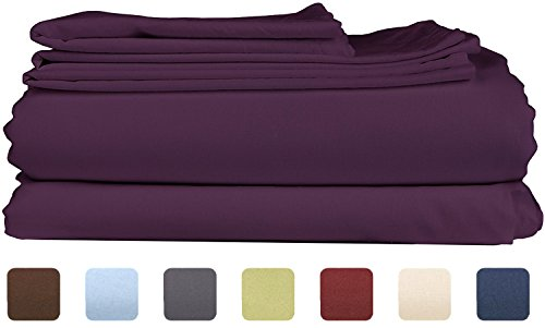 King Size Sheet Set - 4 Piece Set - Hotel Luxury Bed Sheets - Extra Soft - Deep Pockets - Easy Fit - Breathable & Cooling - Wrinkle Free - Comfy – Purple Plum Bed Sheets - Kings Sheets – 4 PC