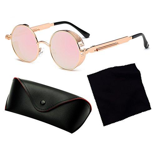 gafas para espejo gafas metal Steampunk C15 mujeres UV400 de vintage sol redondo gótico Juleya hombres de retro 68qwPfF5