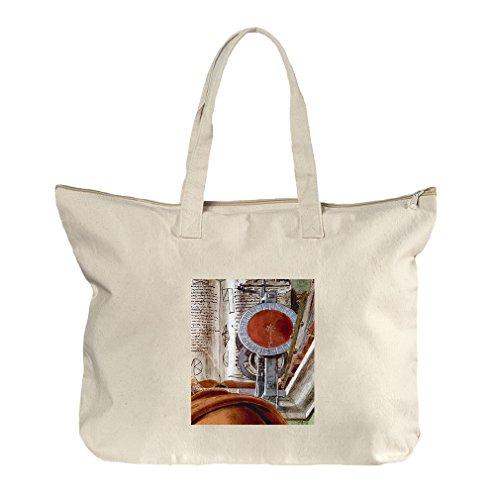St Augustine In Prayer #2 (Botticelli) Canvas Beach Zipper Tote Bag - Shopping Augustine St Center
