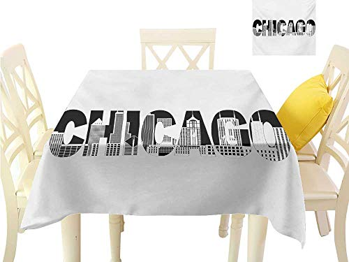 familytaste Table Cover Chicago Skyline,Black and White Text of Chicago Outlining City Landmark Abstract Buildings,Black White Tablecloth Party Wedding W 54