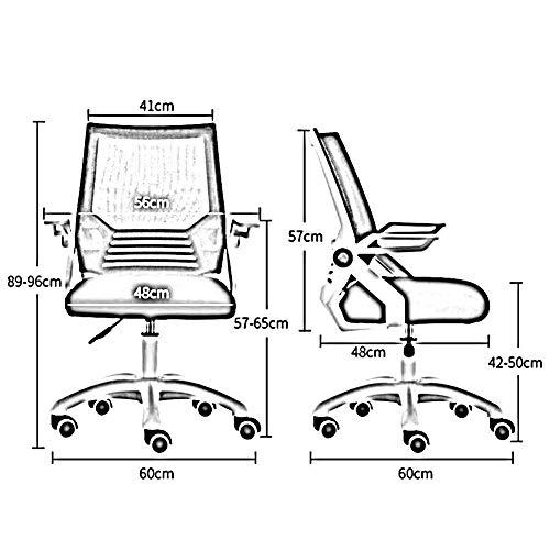DALL kontorsstol roterande räcke 360 graders svängbar nätstol ergonomisk korsryggsstöd justerbar höjd 42–50 cm (färg: Blå, storlek: Svart ram)