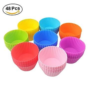 Tmade Moldes de silicona para magdalenas reutilizables y antiadherentes, sin BPA: Amazon.es: Hogar