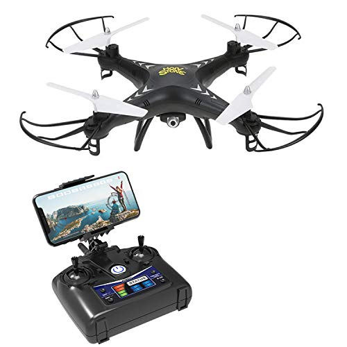 Holy Stone HS110 FPV RC Drone with Camera 720P HD Live Video WiFi 2.4GHz 4CH 6-Axis Gyro RC Quadcopter with Altitude Hold, One Key Return and Headless Mode Function RTF, Color Black For Sale