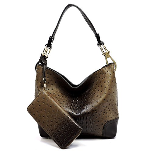 2 PC Set Ostrich Croco Embossed Vegan Faux Leather Hobo Shoulder Bag Classic Bucket Purse with Matching Wallet (COFFEE BROWN) -