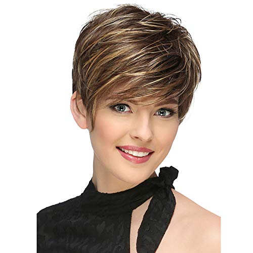Beauty : LEJIMEI Short Pixie Wigs for Women Brown Mixed Blonde Heat Resistant Synthetic Hair Wigs with Bangs + A Free Wig Cap (Brown mixed Blonde) LM008