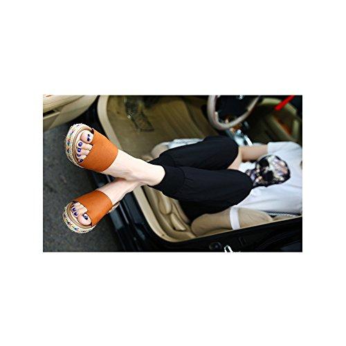 Calzado de mujer, Zapatos de la playa de Bohemia dulce de abalorios sandalias del pie del clip #06Marron