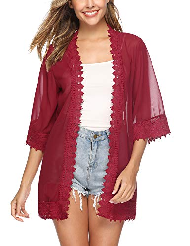 Aibrou Lace Kimono Cardigan for Women Casual Blouse with Half Sleeve Chiffon Cover up for Beach Bikini Swimsuit Red