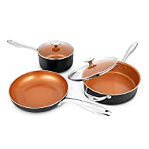 MICHELANGELO Copper Cookware Set 5 Piece, Ultra Nonstick Pots and Pans Copper with Ceramic Interior, Copper Nonstick Cookware Set, Ceramic Pot and Pans Set, Copper Pots and Pans, Copper Pots Set -5Pcs