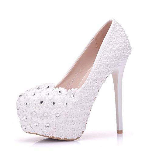 nascosti nascosti nascosti Heel UK Fiori Colore da da da da Heel con 14cm White Dimensione Sposa e Pizzo in Sposa ZHRUI White 14cm Scarpe Fiori 2 da Uqx0CZwCp