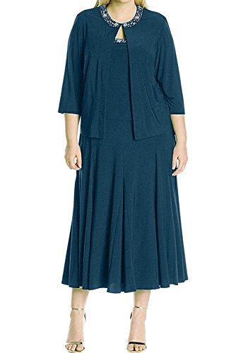 Dunkel Blau mia Abendkleider Langarm Damen Kurzes La Braun Chiffon Dunkel Partykleider Braut Brautmutterkleider TARgBnxZ
