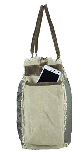 Sunsa Borse da Donna / Uomini Vintage Borse a tracolla Borsette in Canvas / Telo olona con pelle 51841