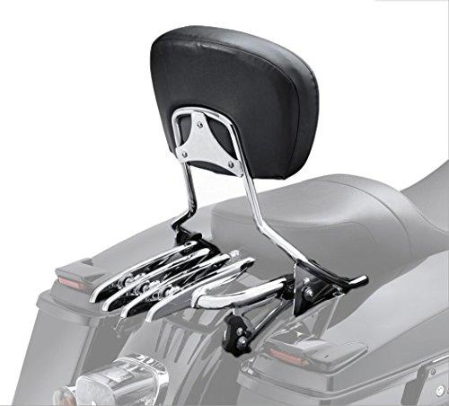 VBROS New Detachable Passenger Backrest Sissy Bar & Stealth Rack For 2009-UP Harley Touring Electra Glide Road Glide Road King Street Glide