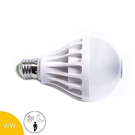 Bombilla LED (12 W, E27, y sensor de movimiento crepuscular, Blanco cálido, mate: Amazon.es: Iluminación