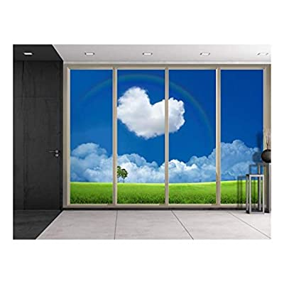 Astonishing Piece, Green Field with a Heart Shaped Cloud and a Rainbow Over It Viewed from Sliding Door Creative Wall Mural Peel and Stick Wallpaper, Made With Top Quality