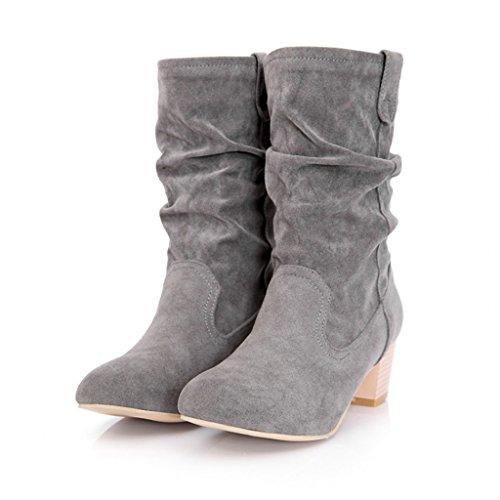 Estimadas Botas De Montar Para Mujer Mid Heel Mid Calf Grey