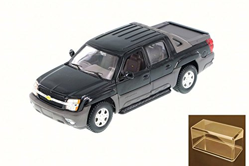 Diecast Car & Accessory Package - 2002 Chevy Avalanche Pick Up Truck, Black - Welly 22094 - 1/24 Scale Diecast Model Toy Car w/display case