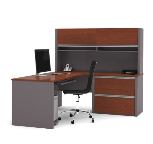 (Bestar Connexion L-Shaped Desk with Two Oversized Pedestals, Bordeaux/Slate)