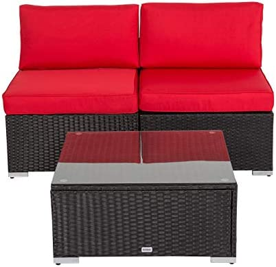 Kinbor Patio Furniture PE Rattan Sofa Set 3pcs Middle Sofa Coffee Table Garden Wicker Sectional Sofas Conversation 3 Piece