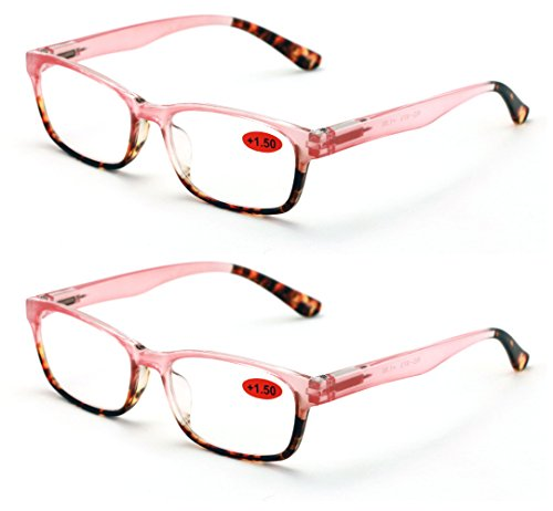 2 Pairs of Stylish Classic Rectangle Reader With Spring Hinges Women Half Translucent Tortoise Reading Glasses (Pink, 1.50) Spring Temple Half Reading Glasses