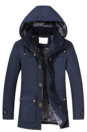 Men's Winter Fur Coats Jacket Faux Blue Quilted Lined TTYLLMAO Hooded fYxdUw0Sq