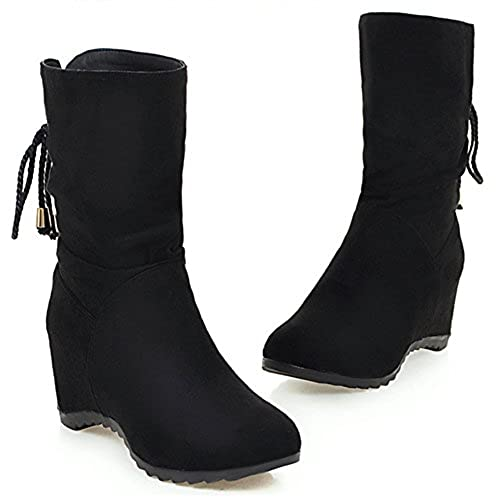 Women's Fashion Slouch Round Toe Lace Up Wedge Heel Pull On Boots with Bows