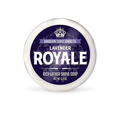 LAVENDER ROYALE - Luxury Shaving Soap with Rich Lather - Made with Shea Butter, Coconut Oil & Pure Lavender Essential Oil - Lasts Longer Than Shaving Cream - All Natural Shave Soap Puck Refill