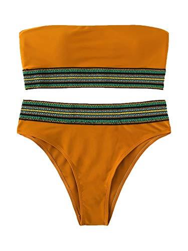 - SweatyRocks Women's Bathing Suits Striped Bandeau Bikini top high Waisted Swimsuits Swimwear Set Brown X-Large