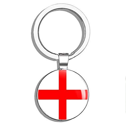 [해외]글로버 무역 잉글랜드 플래그맵 라운드 스틸 메탈 키 체인 키 체인 링 더블 양면 Deisgn / Glover Trading England Flag Map Round Steel Metal Key Chain Keychain Ring Double Sided Deisgn