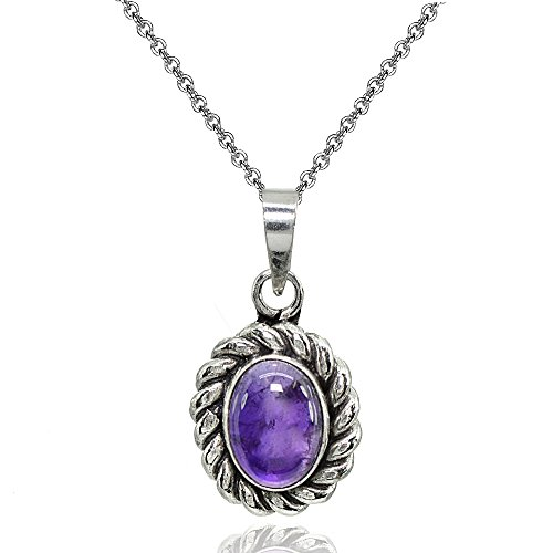 lated Cabochon Amethyst Oval Oxidized Bali Twist Pendant Necklace (Oval Amethyst Bezel Pendant)