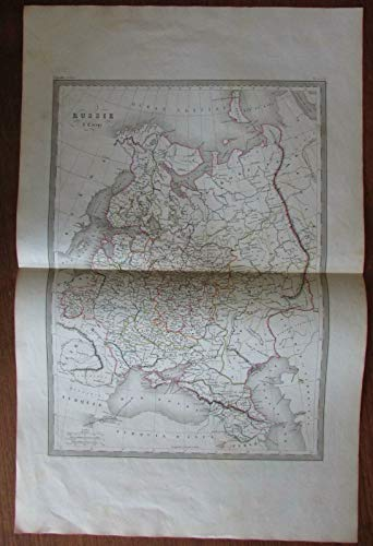 Russia in Europe St. Petersburg Moscow Black Sea c.1860 engraved hand color map - Map Europe 1860
