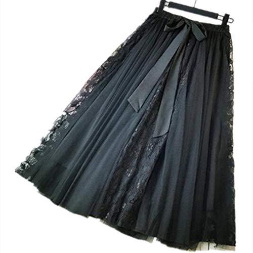 Morbuy Tutu Double Couche Femme Elastique Longue A Jupe Ligne Jupe Noir Casual Mousseline Taille lgante Maille rwrYp8qH