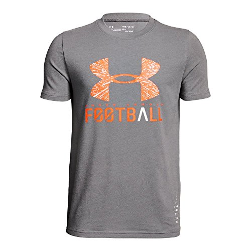Under Armour Boys' Football Lockup T-Shirt, Graphite (040)/Neon Coral, Youth Large (T-shirt Armour Football Under)