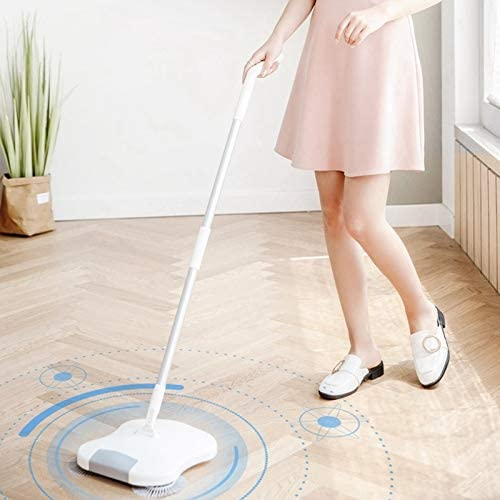 LSXUE Push Main Sweeper Accueil Un Robot d\'essuie-Glace Mopping Sol Balayer Set Balai Sweeper Balai Magique (Color : White) White