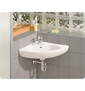 Cheviot 1350 WH 1 White Wall Mount Corner Sink With Single Hole Faucet  Drilling