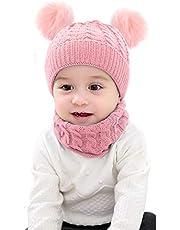 Mengqiy 2 Unids Infant Toddler Kids Baby Winter Warm Knit Hat Beanie Cap & Neck Warmer Circle Loop Bufanda para niñas niños