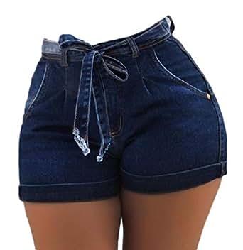 HTOOHTOOH Womens High Waist Shorts Jeans Paper Bag Denim