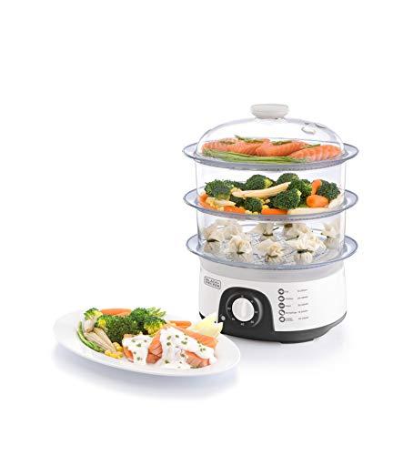 Black+Decker 775W 10 Liter 3-Tier Food Steamer with Timer, White – HS6000-B5, 2 Years Warranty