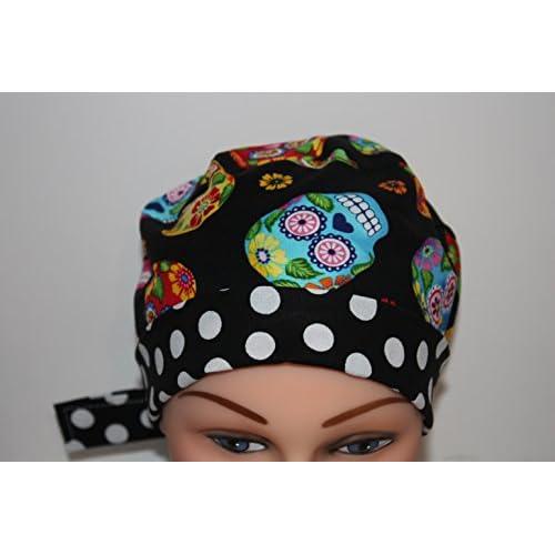 a0b1d0bb4d1 Scrub Hat Surgical Scrub Cap Chemo Chef Hat Pixie Sugar Skulls 50 ...
