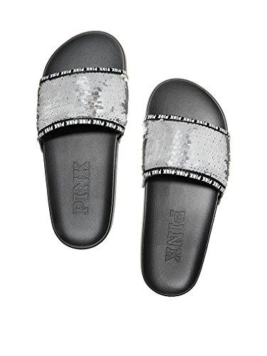 da36feee7a2b8 Victoria's Secret PINK Silver Bling Sequin Slides - Medium Size 7/8
