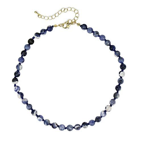POMINA Semi Precious Stone Beaded Short Necklaces (Sodalite) ()