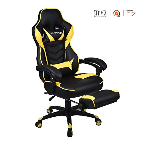 Video Gaming Chair Racing Office – PU Leather High Back Ergonomic 170 Degree Adjustable Swivel Executive Computer Desk Task Large Size with Footrest,Headrest and Lumbar Support (Yellow)