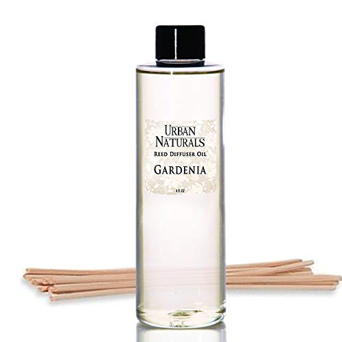 Urban Naturals Gardenia Scented Oil Reed Diffuser Refill | Includes a Free Set of Reed Sticks! Jasmine, Ylang Ylang, Tuberose & Amber Notes | 4 oz