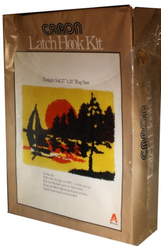 Vintage 1977 Caron Latch Hook Kit - Twilight Sail Featuring a Sailboat Sailing at Sunset