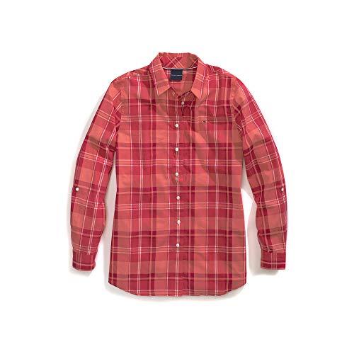 Tommy Hilfiger Women's Adaptive Magnetic Button Shirt Regular Fit, Sunkist Coral, Medium