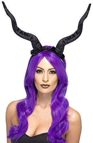 [Smiffy's Women's Long Black Demon Horns, Black, Soft, One Size, 27829] (Devil Horns For Halloween Costume)