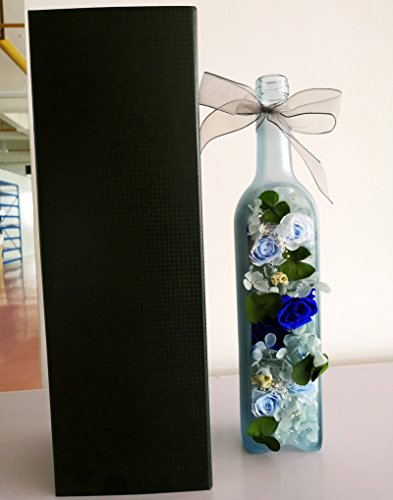 FYYDNZA Tanabata Immortal Flower Glass Cover Gift Box Red Rose Girlfriend Lover Birthday Gift Fresh Flower,Chocolate Red Wine Bottle D