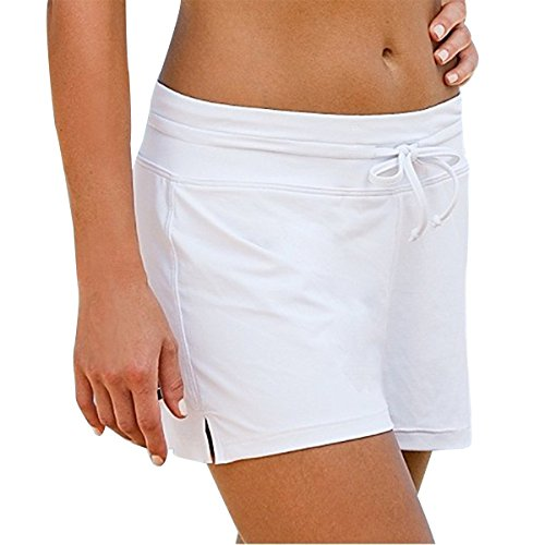 HOLYSNOW Women Swimwear Brord Shorts Women Swim Trunks With Liner Shorts White - Shorts Suit White Womens