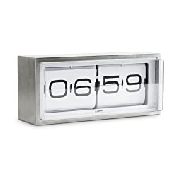 wall/desk clock brick stainless steel 24h white
