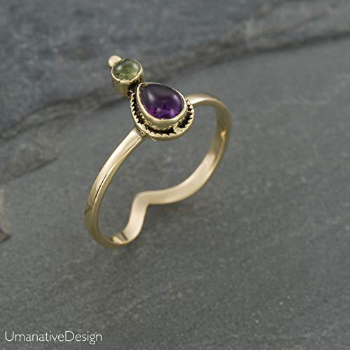 Amethyst Ring Green Gold (Boho Gold Brass Ring With Natural Amethyst and Green Peridot Stone, Unique Tribal Oval Stone Ring, Hippie Ethnic Handmade Natural Gemstone Ring, Size 7, Tribal Jewelry For Women)