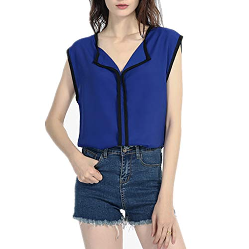 ♡QueenBB♡ Women's Henley V Neck Sleeveless Chiffon Casual Blouse Shirts Tank Tops Large Size Dark Blue ()